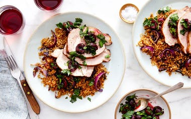 Brined Pork Chop with Cherries & Quinoa