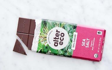 Organic Deep Dark Sea Salt Chocolate Bar (70%)