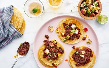 Al Pastor Pork Tacos with Peach-Jalapeño Salsa