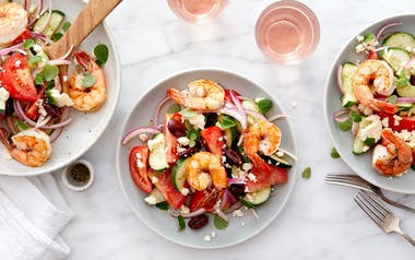Greek Salad with Cucumbers, Tomatoes & Shrimp