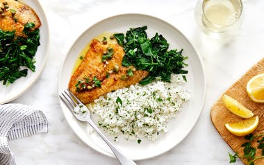 Lemon-Caper Sole with Baby Spinach & Herbed Rice