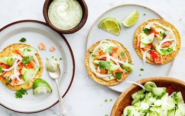 Salmon Tostadas with Marinated Cucumber & Avocado Crema