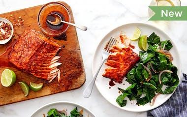 Chef Tanya Holland's Bourbon & Chili-Glazed Salmon with Sautéed Collards