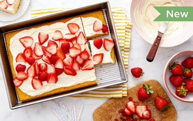 Yellow Sheet Cake with Dairy-Free Buttercream Frosting & Strawberries