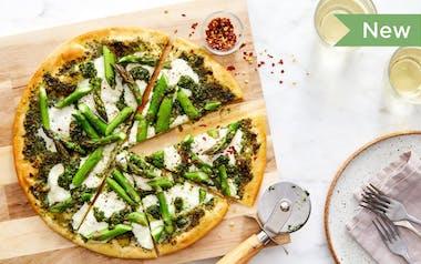 Wheat-Free Pesto Pizza with Asparagus & Burrata