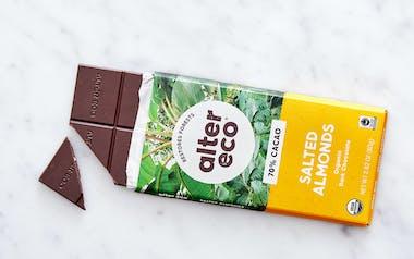 Organic Dark Salted Almond Chocolate Bar (70%)