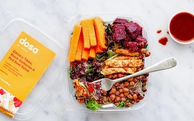 Meatless Chick'n Tikka, Black Garbanzo & Red Beet Salad