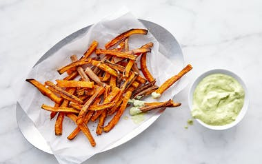 Sweet Potato Oven Fries with Green Goddess Dip