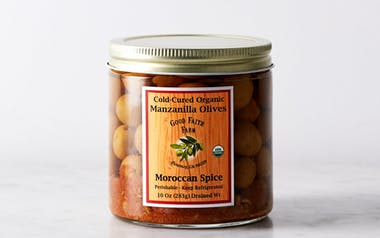 Cold-Cured Manzanilla Olives with Moroccan Spice