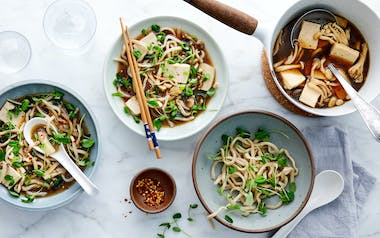 Udon Noodle Soup with Tofu & Mushrooms
