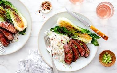 Teriyaki Steak with Baby Bok Choy & Coconut Rice