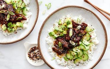 Teriyaki Beef Bowls with Cucumber & Avocado