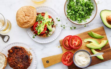 Fresh Veggie Burgers with Miso Mayo, Avocado & Sprouts