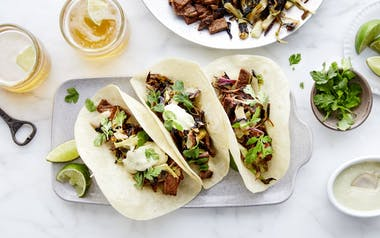 Steak Tacos with Charred Spring Onions