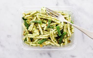 Pesto Pasta Salad with Mozzarella and Green Beans