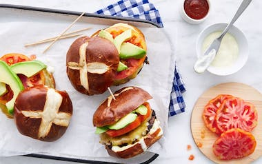 Grass-Fed Burgers with Tomatoes & Aioli