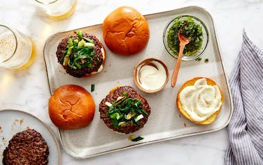 Grass-Fed Burgers with Charred Spring Onions & Green Garlic Aioli