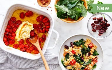 Baked Feta with Cherry Tomatoes & Orzo