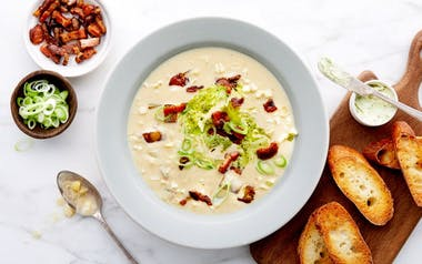 Sweet Corn Chowder with Bacon & Basil Butter