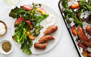 Sheet-Pan Sausages with Peaches & Broccoli