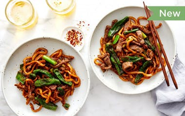 Udon Noodle Stir-Fry with Beef & Shishitos