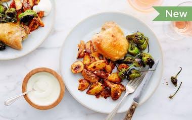 Family-Size Spanish-Style Chicken Thighs with Patatas Bravas & Aioli