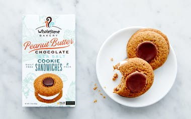 Vegan Peanut Butter Chocolate Sea Salt Cookie Sandwiches
